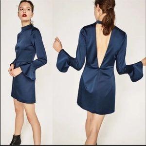 Zara satin v back dress teal with ruffle sleeves